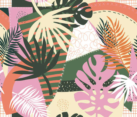 Contemporary floral palm leaves and abstract patchwork collage shapes seamless vector pattern. Repeating modern vibrant summer background. Modern exotic design for paper, cover, fabric, home decor Иллюстрация