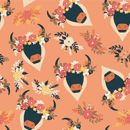 Bull Boho head seamless vector pattern. Abstract ox with horns and ethnic flower arrangement on orange repeating multidirectional background. Aztec animal bohemian style for wallpaper, fabric, cowgirl