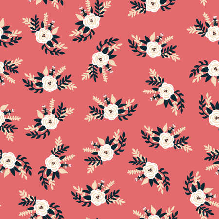 White florals bridal roses seamless vector pattern. Repeating romantic flower background old rose. Ditsy flower pattern Scandinavian flat style for fabric, invitations, kids, wedding, spring, nursery.