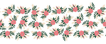 Vector flat flowers seamless border horizontal. Romantic rose florals leaves old rose pink green color repeating pattern. Peony flowers hand drawn cute illustration for banners, fabric trim, footer.  イラスト・ベクター素材
