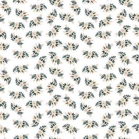White roses bridal flowers seamless vector pattern. Repeating romantic floral background. Ditsy flower pattern Scandinavian flat style for fabric, invitations, kids, wedding, spring, nursery.