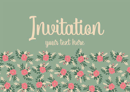 Invitation vector card template flat flowers cute Scandinavian style. Invite with floral pink roses border at the bottom. Romantic vintage retro peony flowers green background for wedding, birthday Иллюстрация