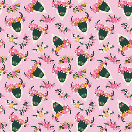 Bull head flowers Bohemian Western seamless vector pattern. Abstract ox with horns and ethnic floral arrangement on pink repeating background. Aztec animal illustration for fabric, wallpaper, cowgirl. 写真素材