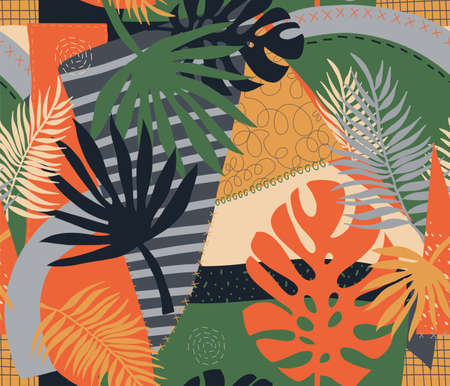 Contemporary exotic tropical palm leaves seamless vector pattern. Abstract patchwork collage shapes repeating modern vibrant summer background. Modern design for fashion, fabric, interior decor.