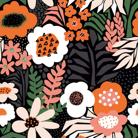 Contemporary seamless floral vector pattern. Abstract flowers and leaves modern collage repeating background. Red green white florals on dark black. For surface design, fashion, summer fabric, decor