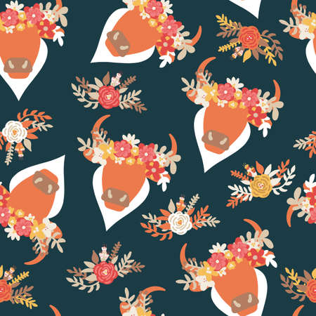 Ox head floral Bohemian Western seamless vector pattern. Abstract bull with horns and ethnic flower arrangement on dark repeating background. Aztec animal illustration for fabric, wallpaper, cowgirl