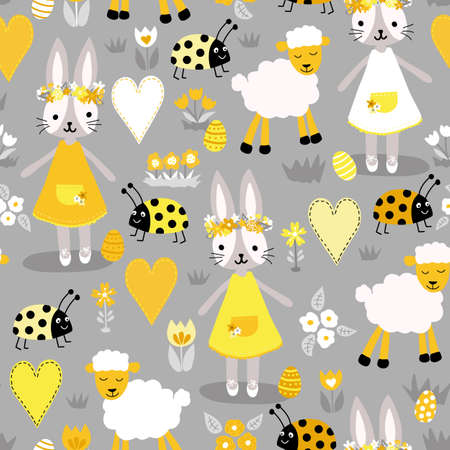 Easter vector pattern gray and yellow with bunny, sheep, ladybug, heart, egg and flowers in colors of the year 2021. Seamless holiday background. Hand drawn cute illustration for fabric, Easter card.