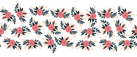 Seamless vector border flat rose flowers pink horizontal. Romantic florals leaves old rose pink color repeating pattern. Peony flowers hand drawn cute illustration for banners, fabric trim, footer .