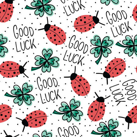 Good luck charms talisman seamless vector pattern. Ladybug, four-leaf clover, Good Luck lettering repeating hand drawn fortune background. Use for New Years, fabric, packaging. Vector illustration. Иллюстрация