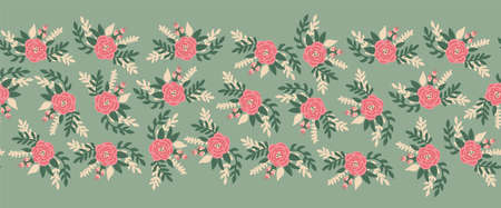 Vintage flowers seamless vector border. Romantic rose florals leaves old rose pink green color repeating horizontal pattern. Peony flowers hand drawn cute illustration for banners, fabric trim, footer