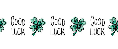 Green four-leaf Good Luck clover seamless vector border. Repeating horizontal pattern illustration good luck spring design with shamrock. St Patricks Day background. Horizontal repeating banner