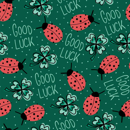 Good luck charms talisman seamless vector background. Ladybug, four-leaf clover, Good Luck lettering repeating hand drawn fortune pattern green. For New Years, fabric, packaging. Vector illustration. Ilustrace