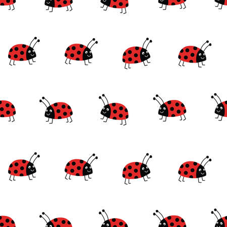 Seamless ladybug vector background. Flat red Ladybugs on white repeating pattern. Cute summer bug animal kids design. Good for print, wrapping, fabric, kids fashion Ilustrace