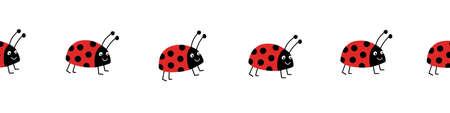 Seamless ladybug vector border. Flat red Ladybugs on white horizontal repeating pattern. Cute summer bug animal kids background design for print, kids decor, fabric trim, kids fashion, footer, divider