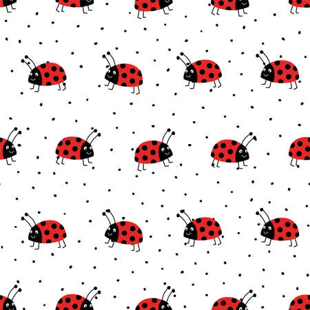 Ladybugs seamless vector pattern. Flat red Ladybugs on white repeating background with black spots. Cute summer bug animal kids design. Good for print, wrapping, fabric, kids fashion