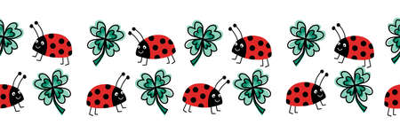 Seamless ladybug and four leaf clover vector border. Flat red Ladybugs and clover leaves on white horizontal repeating pattern. Cute good luck charms animal kids design for print, fabric trim, footer. Ilustrace