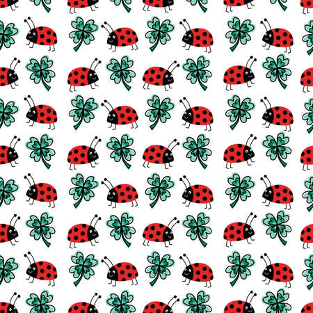 Good luck four-leaf clover and ladybug charms talisman seamless vector pattern. Repeating hand drawn fortune background. Use for New Years, fabric, packaging. Vector illustration.