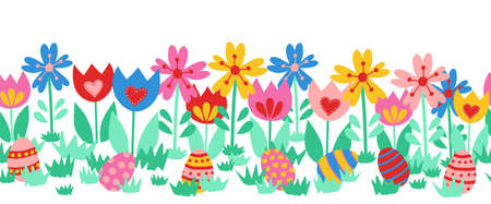 Seamless vector border Easter eggs. Cute hand drawn Easter egg repeating pattern between flowers. Floral horizontal Easter border cute. For greeting card, footer, divider, ribbons.