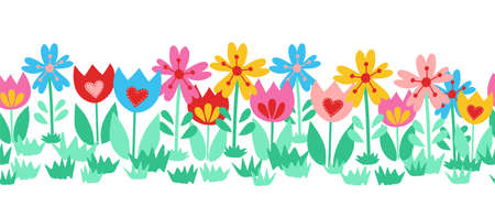 Seamless cute flower border isolated on white background. Hand drawn floral vector illustration child like tulips colorful repeating pattern for spring, Easter, card decor, fabric trim, footer, ribbon Ilustrace
