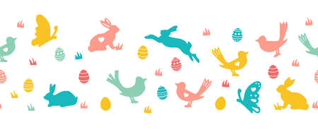Seamless Easter vector border with bunnies butterflies and birds. Repeating horizontal pattern Easter rabbit and eggs silhouettes. Cute border for cards, fabric trim, footer, header, divider, ribbons.