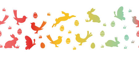 Easter seamless vector border with bunnies butterflies and birds. Repeating horizontal pattern Easter rabbit and eggs silhouettes. Cute border for cards, fabric trim, footer, header, divider, ribbons.