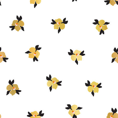 Gold foil ditsy flowers seamless vector pattern. Faux metallic golden florals on white background. Repeating ditsy flower backdrop. Summer or spring nature design. Use for elegant packaging, wrapping.  イラスト・ベクター素材