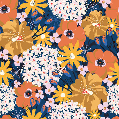 Summer flowers seamless vector pattern. Floral repeating background Hydrangea, Aster, Poppy blue orange yellow white. Modern contemporary collage Surface pattern design for fashion fabric, textile.