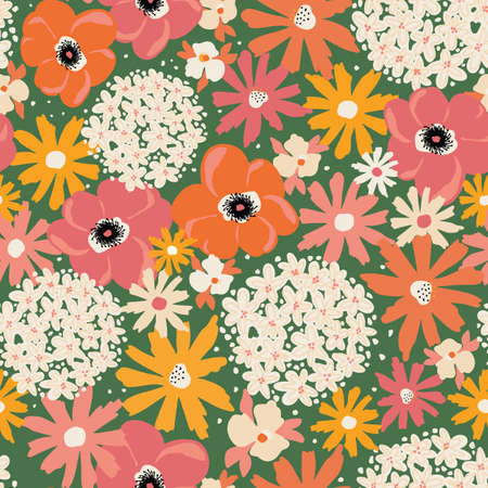 Summer florals seamless vector pattern. Repeating flower background Hydrangea, Aster, Poppy green orange yellow pink white. Modern contemporary Surface pattern design for fashion fabric, textile.