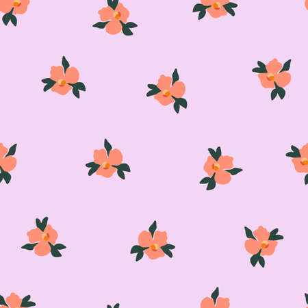 Ditsy pansy flowers seamless vector pattern. Delicate orange small scattered flowers on a pink background. Cute romantic Folk art flowers for fabric, nursery, home decor, wallpaper, spring decor.  イラスト・ベクター素材