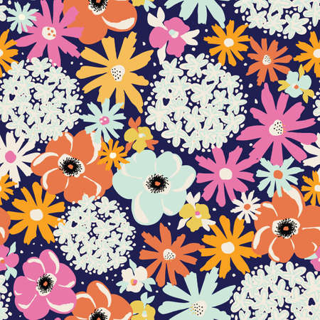 Flowers Hydrangea, Aster, Poppy seamless vector pattern. Repeating summer flower background blue orange yellow pink white. Modern floral Surface pattern design for fashion fabric, textile, wallpaper.