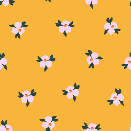 Seamless ditsy flower vector pattern. Delicate pink small scattered flowers on an orange yellow background. Cute romantic Folk art flowers for fabric, nursery, home decor, wallpaper, spring decor.