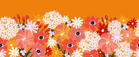 Summer flowers abstract seamless vector border. Floral repeating pattern Hydrangea, Aster, Poppy red orange yellow white. Modern contemporary surface pattern design for fashion fabric trim, cards