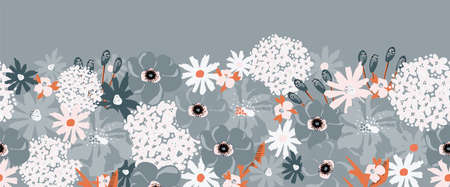 Flower border abstract seamless vector border. Floral repeating horizontal pattern Hydrangea, Aster, Poppy blue orange white. Modern contemporary surface pattern design for fashion fabric trim, cards  イラスト・ベクター素材