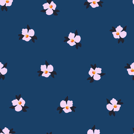 Ditsy flower seamless vector pattern. Delicate pink small scattered flowers on a blue background. Cute romantic floral Folk art flowers for fabric, nursery, home decor, wallpaper, spring decor.