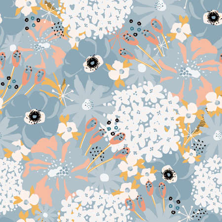 Abstract florals seamless vector pattern. Repeating flower background Hydrangea, Aster, Poppy blue white pink. Modern contemporary surface pattern design for fashion fabric, wallpaper, summer decor.  イラスト・ベクター素材