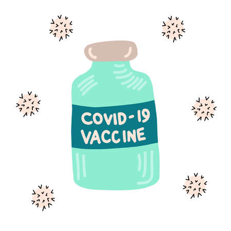 Vaccine bottle virus icons. vaccine dose hand drawn illustration. Vaccination time.