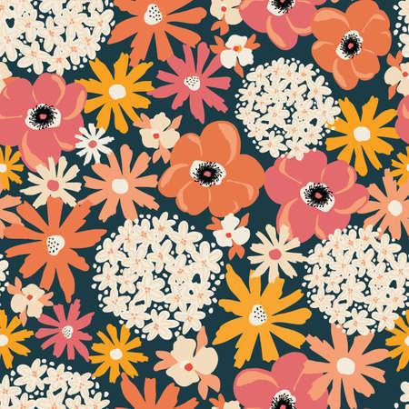 Floral seamless vector pattern Hydrangea Poppy Peony background