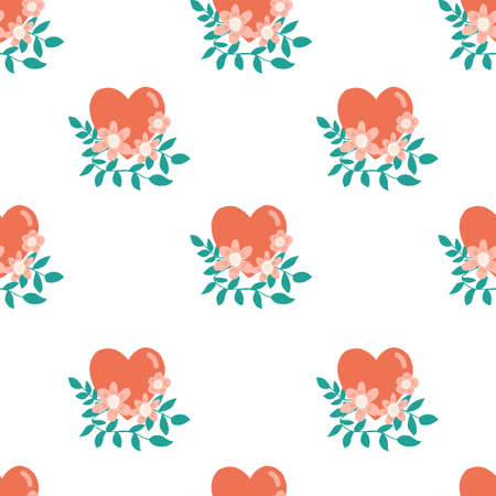 Seamless heart pattern with floral elements. Repeating vector background hand drawn hearts with flowers and branches. Cute illustration for fabric, Valentines, wrapping, surface pattern design.