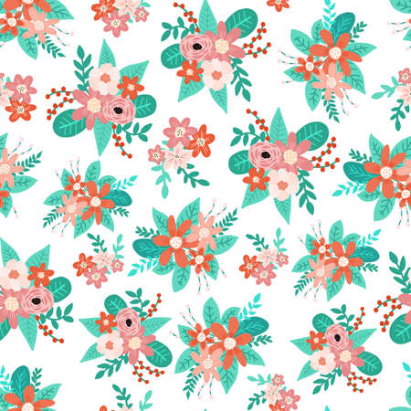 Scandinavian flower bouquets on a white background. Flat Scandi vintage style abstract florals for textile, fashion fabric, wallpaper. 写真素材