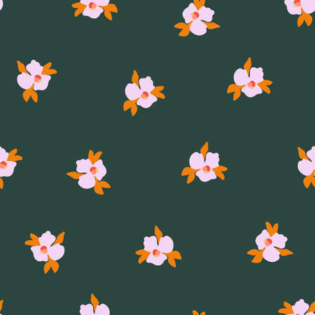 Seamless vector pattern Ditsy pansy flowers. Delicate pink small scattered flowers on a green background. Cute romantic Folk art flowers for fabric, nursery, home decor, wallpaper, spring decor.