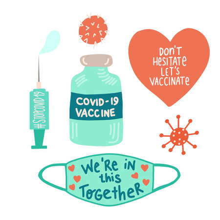 Coronavirus icon set vector. Stop Corona, Get Vaccinated, Covid 19 Vaccine Time, Syringe, Face Mask. Cute hand drawn Vector illustration cartoon sticker style. Motivational, inspirational quotes.