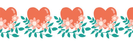 Seamless border Hearts flowers love Valentine symbols. Hand drawn repeating pattern. Red and teal green branches and hearts cute folk art style. For Valentines greeting card, footer, header, banner.