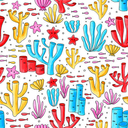 Coral reef seamless pattern. Repeating background with underwater elements painted. For kids wear, cute fabric, children decor, summer.