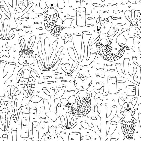 Mermaid animals seamless pattern black white. Coloring ocean background cat, dog, bunny mermaid tails. Cute children underwater animal design line art. Coral reef kids for fabric, coloring wallpaper.