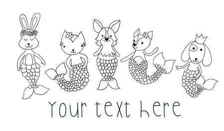 Mermaid animals coloring illustration black white. Coloring kids ocean design cat, dog, bunny with mermaid tails. Cute children underwater animal design line art. Use for card, invite, coloring shirt. 写真素材