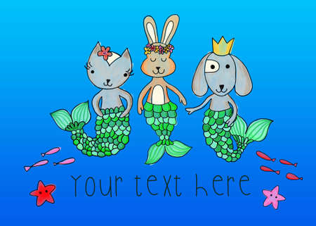 Mermaid animals greeting card template. Cute kids ocean design cat, dog, bunny with mermaid tails. Cute children underwater animal design. Use for card, invite, birthday invitation, costume party. 写真素材