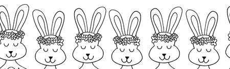 Bunnies seamless border outline. Repeating horizontal pattern with bunny heads. Cute rabbits black and white line art design for Easter cards, ribbon, fabric trim, kids fashion, banner, footer, tapes. 写真素材
