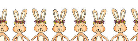 Rabbit seamless border painted. Repeating horizontal pattern with bunnies holding hands wearing flower crowns. Cute bunny art for Easter cards, ribbon, fabric trim, kids fashion, banner, footer, tape 写真素材