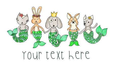 Cute kids illustration mermaid animals cat dog bunny. Card template painted ocean design underwater animals with mermaid tails. Cute children design for cards, invite, shirt. 写真素材
