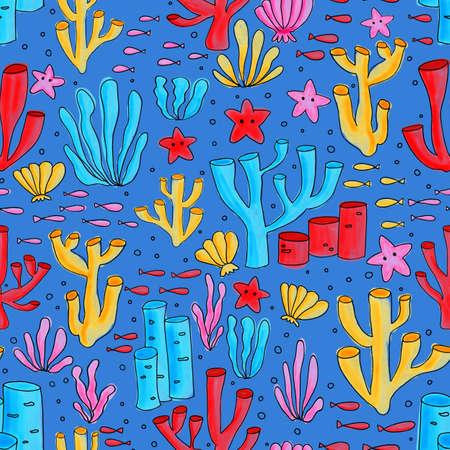 Ocean Coral reef seamless colorful background. Repeating pattern with underwater elements painted. For kids wear, cute fabric, children decor, summer.